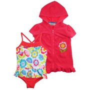 46193d183c Wippette Baby Girls Pastel Flowers One Piece Swimsuit Beach Terry Cover Up  Set