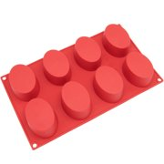 Freshware 8-Cavity Oval Silicone Mold for Soap, Muffin, Brownie, Cake,