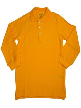 French Toast School Uniform Unisex Long Sleeve Pique Polo Shirt (Sizes 4-20), 33350 BLACK / 4