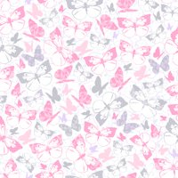 Waverly Inspirations BUTTERFLY CARNATION-SILVER 100% Cotton Print Fabric 44'' Wide, 140 Gsm, Quilt Crafts Cut By The Yard