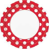 "9"" Polka Dot Paper Dinner Plates, Red, 8ct"