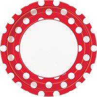 "9"" Polka Dot Paper Dinner Plates, Red, 8ct"