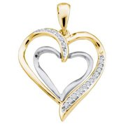 10K Yellow Gold 0.10ctw Fancy Sleek Fashion Pave Diamond Ladies Heart Pendant