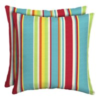 Mainstays Multi Stripe 16 x 16 in. Outdoor Toss Pillow, Set of 2