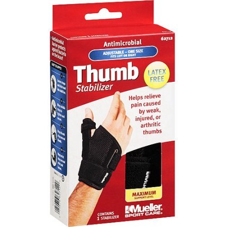 Thumb Splint (Mueller Sport Care Antimicrobial Thumb Stabilizer, Maximum Support Level, One Size )