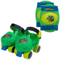 Nickelodeon Teenage Mutant Ninja Turtles Kid's Rollerskates with Knee Pads, Junior Size 6-12