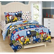 Fancy Linen 5pc Boys Twin Comforter and Sheet Set Trucks Tractors Blue Red New