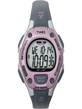 Timex Women's Ironman Classic 30 Gray and Pink Resin Strap Watch