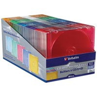 Verbatim 50 Pack CD/DVD Color Slim Jewel Cases, Assorted