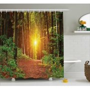 Farm House Decor Shower Curtain Magical Light Reflection Deep In Forest Birches Nature Fall Fantasy