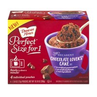 (2 Pack) Duncan Hines Perfect Size for One Decadent Chocolate Lover's Cake Mix, 4-2.54 oz Box