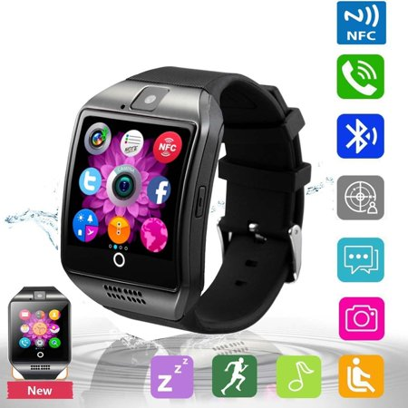 Bluetooth Smart Watch Phone Pandaoo Smart Watch Mobile Phone Unlocked Universal GSM Bluetooth 4.0 NFC Music Player Camera Calendar Stopwatch Sync for Android iPhone Google Huawei Smartphones (Black) (Watch Cell Phone Camera)