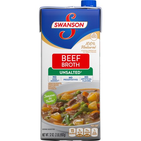 (6 Pack) Swanson Unsalted Beef Broth, 32 oz.