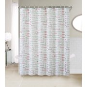 VCNY Christmas Chic 13 Pc Fabric Shower Curtain Set