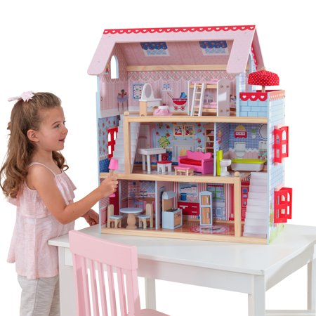 KidKraft Chelsea Doll Cottage with 16 accessories included (Kidkraft Chelsea Dollhouse)