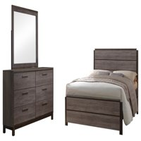 Dansville 3 Piece Bedroom Set, King, Antique Gray Wood, Modern (Panel Bed, Dresser & Mirror)