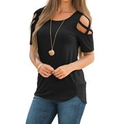 ceacd37e292 Fashion Women Loose Casual Off Shoulder T-Shirt Blouse Ladies Summer Short Sleeve  Tops T