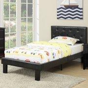 Poundex Black PU Upholstered Twin Size Platform Bed