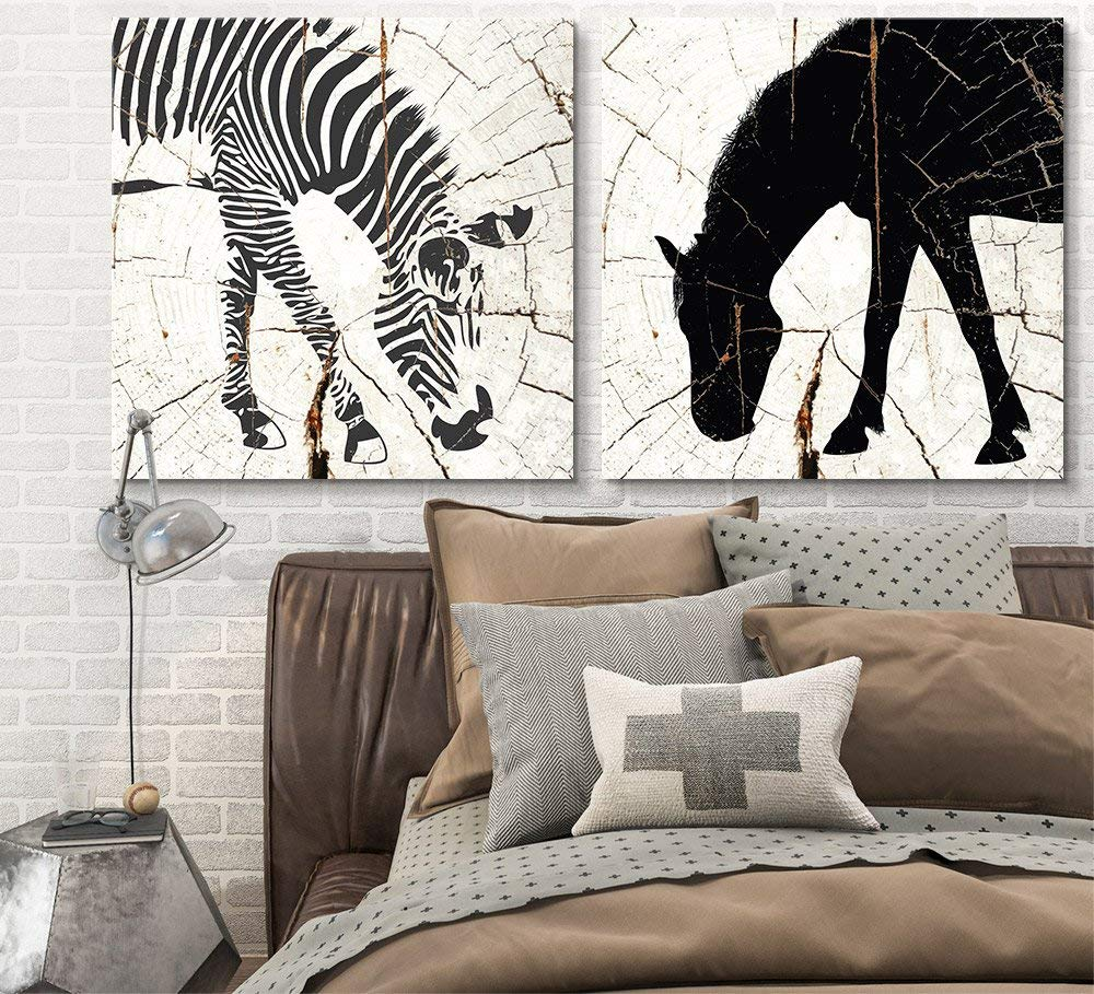 Wall26   2 Panel Square Canvas Wall Art   Zebra Horse Wood Effect Canvas    Giclee