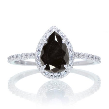Halo 1.25 Carat Classic Pear Cut Black Diamond With Diamond Celebrity Engagement Ring in 10k White Gold](Glowing Engagement Ring)