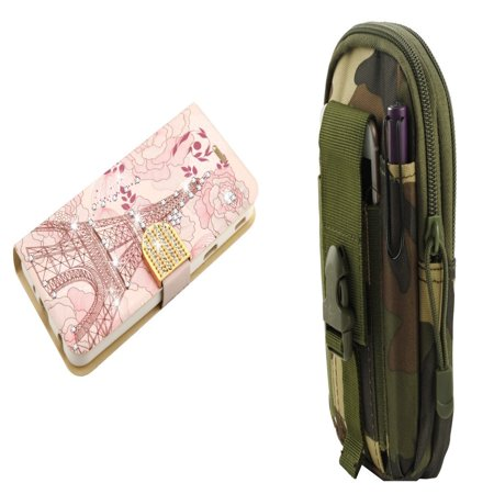 - PU Leather Bling Flip Cover Wallet Case (Eiffel Tower) with Jungle Camo Tactical EDC MOLLE Waist Bag Holder Pouch and Atom Cloth for Samsung Galaxy J7 Star 2018