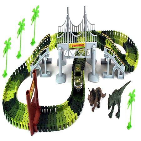 Dinosaur World Bridge Create A Road 142 Piece Toy Car & Flexible Track Playset w/ Toy Cars, 2 Dinosaurs - A Toy Car