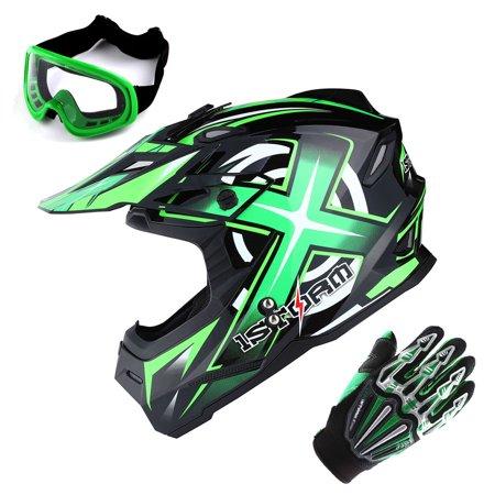 Sonic Helmet - 1Storm Adult Motocross Helmet BMX MX ATV Dirt Bike Helmet Racing Style HF801 + Goggle + Gloves Bundle; Sonic Green