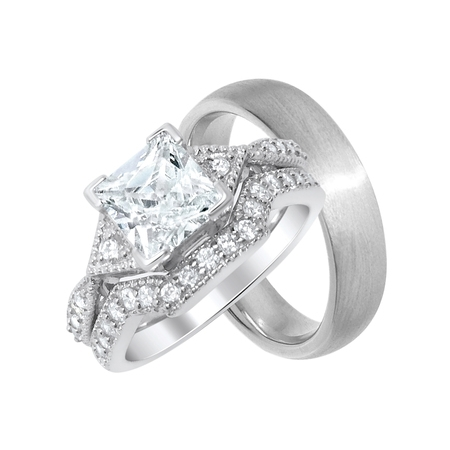 His and Hers Wedding Ring Set Cheap Wedding Bands for Him and Her  (Cheap Wedding Rings For Him And Her)