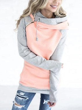 Clothes for Women on Clearance! Women's Long Sleeve Pullover Hoodie for Women, Zip Funnel Neck Hooded Sweatshirts for Juniors, Pink Gift Drawstring Hoody Raglan Pullover Tops for Ladies, M-3XL