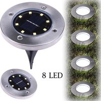 in Ground Solar LED Path Light with Solar Powered, 8LED In-Ground Lamp Outdoor Path Light Spot Lamp Yard Garden Lawn Landscape Decking Waterproof - Set of 2