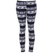 c4ee0b5f7901b4 Ugly REINDEER SNOWFLAKES Pattern BLACK and WHITE Christmas Leggings
