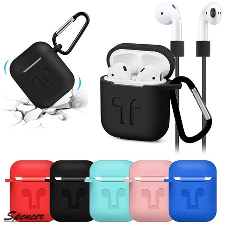 Dark Silicone Protective Skin (Spencer Silicone AirPods Case Shockproof Earphone Protective Cover Skin for AirPods Charging Case with Headphone Cord Strap)