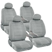 8pc Universal Seat Covers for Van Front & Middle 2 Row Armrest Access Dodge Caravan Gray Grey