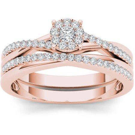 - 1/4 Carat T.W. Diamond 10kt Rose Gold Criss Cross Shank Engagement Ring Set