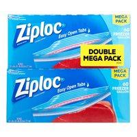 (2 pack) Ziploc Pinch & Seal Freezer Bags, Gallon, 60 Count