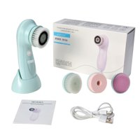 Rechargeable Electric Facial Cleansing Brush Spin Massager System Face Cleanser w/ 3 Rotating Heads