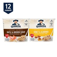 Quaker Instant Oatmeal Express Cups, Variety Pack, Maple & Brown Sugar and Honey & Almonds, 12 Cups