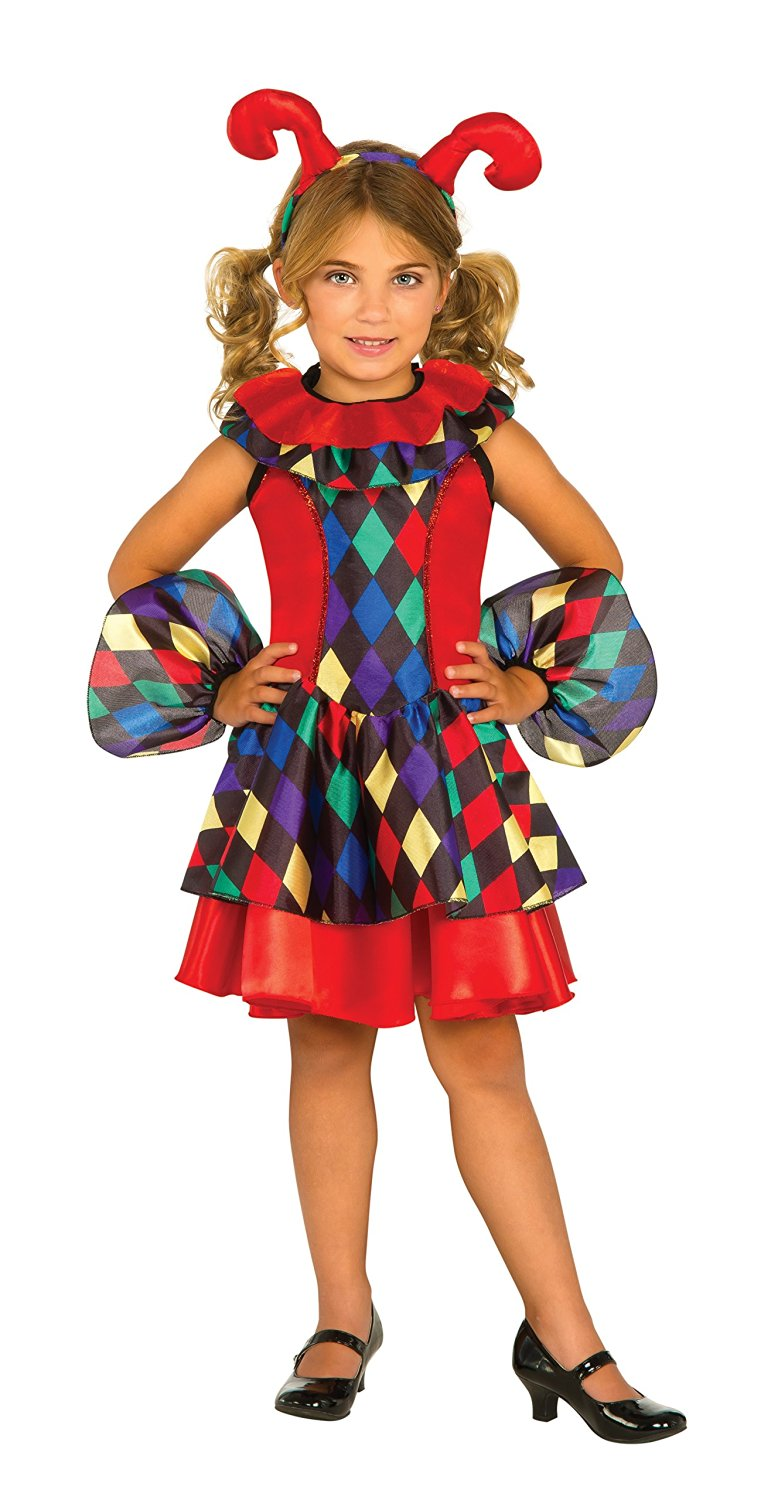 Girls Multi Colored Jester Joker Dress Medieval Child Size Halloween Costume