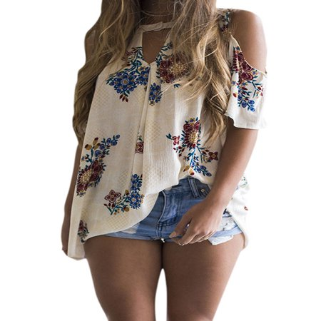 LMart Women Round Neck Cut Out Short Sleeve Cold Shoulder Floral Print Tops Shirt Blouse