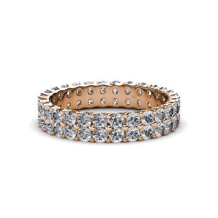 TriJewels Round Lab Grown Diamond Womens Common Prong Double Row Eternity Ring Stackable (VS2-SI1, G) 1.62 ctw to 1.92 ctw 14K Rose Gold.size 8.0