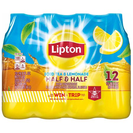 (2 Pack) Lipton Half & Half Iced Tea and Lemonade, 16.9 Fl Oz, 12 Count