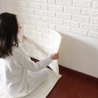 NK HOME 3D Wall Stickers Panels White Brick Wallpaper Peel and Stick Paper Bedroom Living Room Modern Wall Decor Decal Accent Sofa Background TV Walls