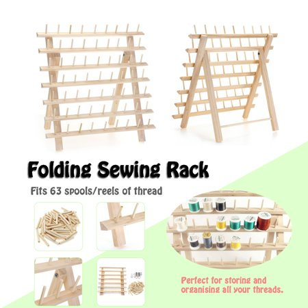 60 Spools Wood Sewing Thread Stand Organizer Craft Embroidery Storage Rack