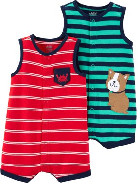Snap up romper, 2 pack (Baby Boys)