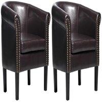 HOMCOM Nailhead Faux Leather Tub / Barrel Club Arm Chair - Brown - 2 PACK