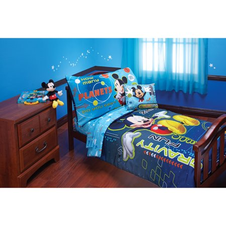 Disney Mickey Zero Gravity 4-Piece Toddler Bedding Set (Boys Toddler Bedding Set Truck)
