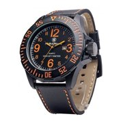 405e1b44efab Mens SWW-LW6058 EGO Bold Large Black Dial Leather Band Watch Multi-Colored