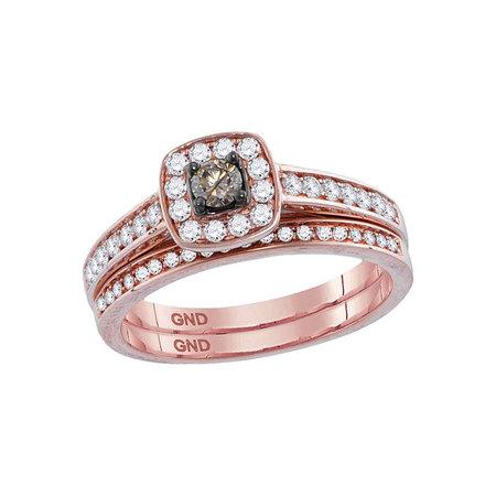 14kt Rose Gold Womens Round Cognac-brown Color Enhanced Diamond Bridal Wedding Engagement Ring Band Set 1/2 Cttw - Rose Gold Wedding Colors