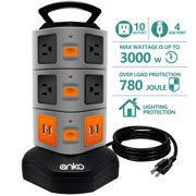 Strip Tower Anko 3000w 13a 16awg Surge Protector Electric Charging Station 10 Outlet