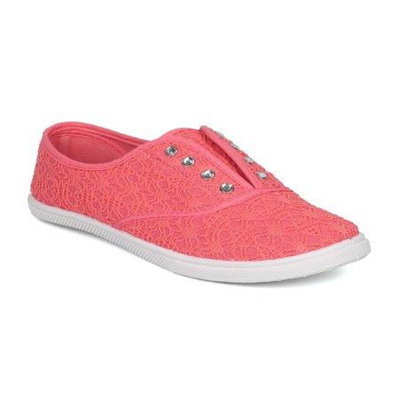 New Women Refresh Aldon-02 Lace Fabric Lace Free Rhinestone Slip On Sneaker